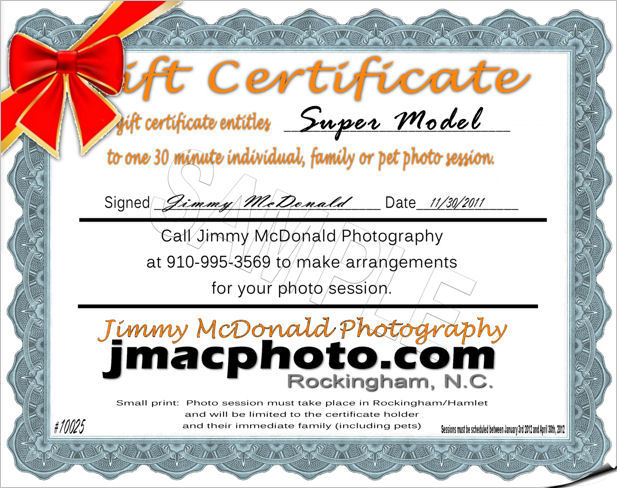 photo session gift certificate for richmond conty nc